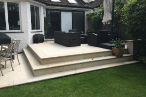 Revamped patio with steps